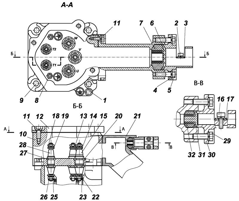 Конструкция коробки выводов двигателей ВРА160,180,200,225 (соединение в Δ)