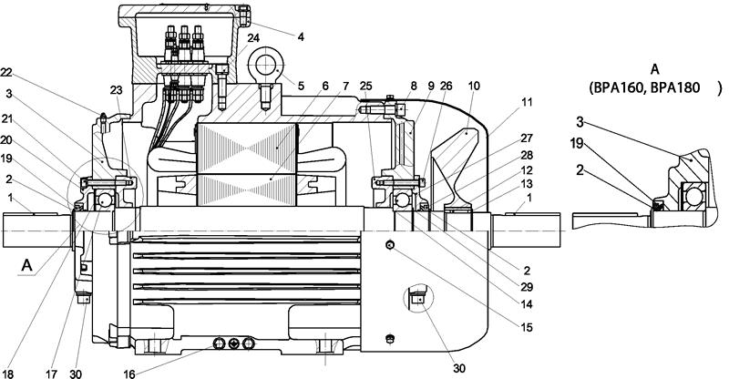 Конструкция двигателей ВРА160, ВРА180, ВРА200, ВРА225