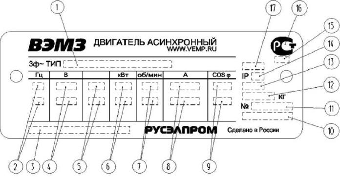 Табличка для двигателей с высотой оси вращения 80-132 мм