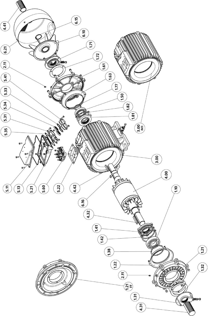Рис. 14 Двигатели с высотой оси вращения 160-280 мм IP54