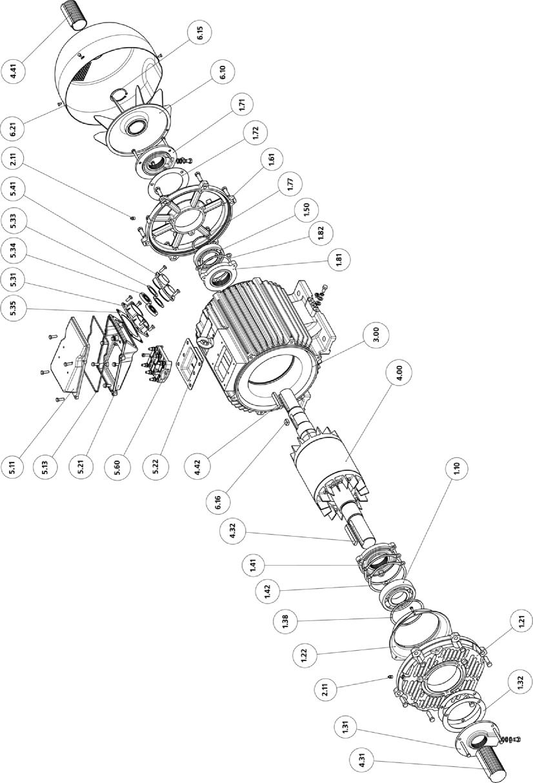 Рис. 15 Двигатели с высотой оси вращения 200 мм IP23