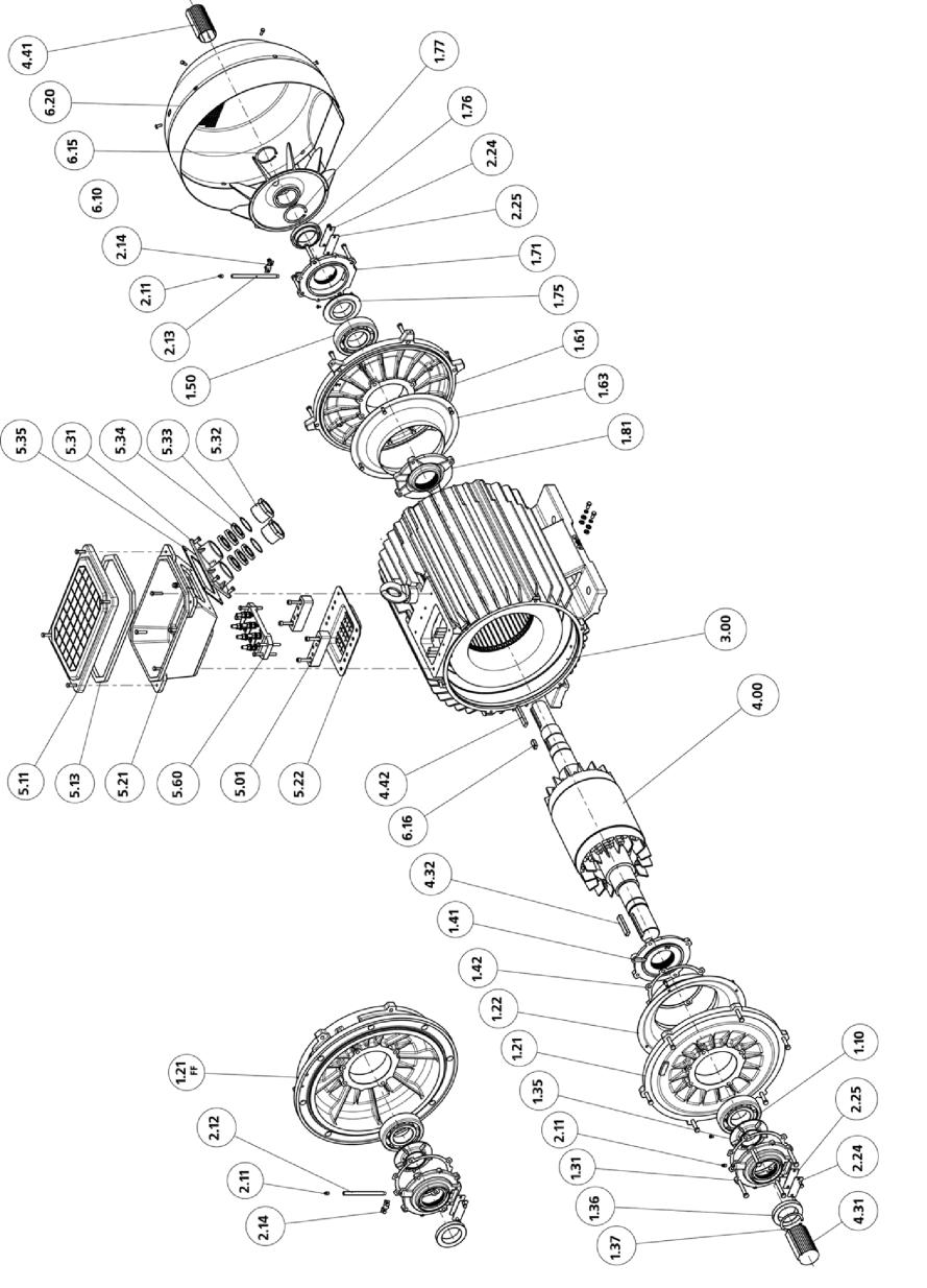 Рис. 16 Двигатели с высотой оси вращения 315 мм IP54 (55)
