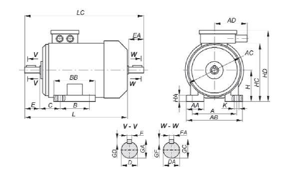Габаритные, установочные и присоединительные размеры двигателей основного исполнения. Монтажное исполнение IM 10...1, IM 10...2