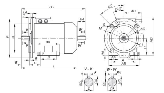 Габаритные, установочные и присоединительные размеры двигателей основного исполнения. Монтажное исполнение IM 2...1, IM 2...2