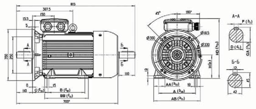 Рисунок 13.4  Габаритные, установочные и присоединительные размеры двигателей 7AVER 160, 7AVEC 160. Монтажное исполнение IM 2081, IM 2082.