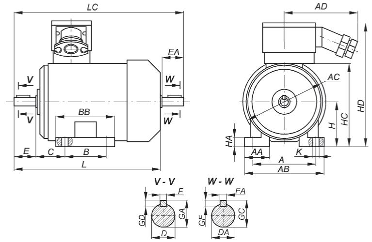Габаритные, установочные и присоединительные размеры взрывозащищенных двигателей серии ВА.  Монтажное исполнение IM 1...1, IM 1...2 Рисунок 15.1