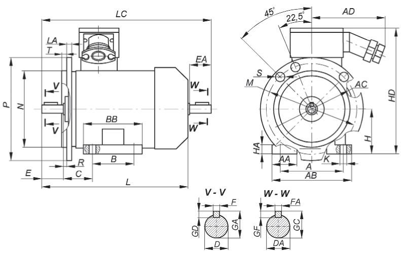 Габаритные, установочные и присоединительные размеры взрывозащищенных двигателей серии ВА.  Монтажное исполнение IM 2...1, IM 2...2 Рисунок 15.2
