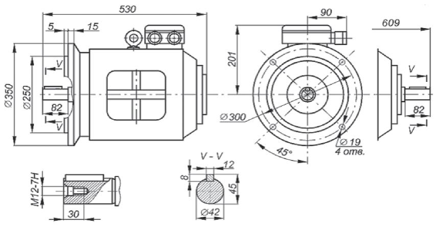 Габаритные, установочные и присоединительные размеры двигателей 5АН 160S...НЛБ. Монтажное исполнение IM3001, IM3002 Рисунок 19