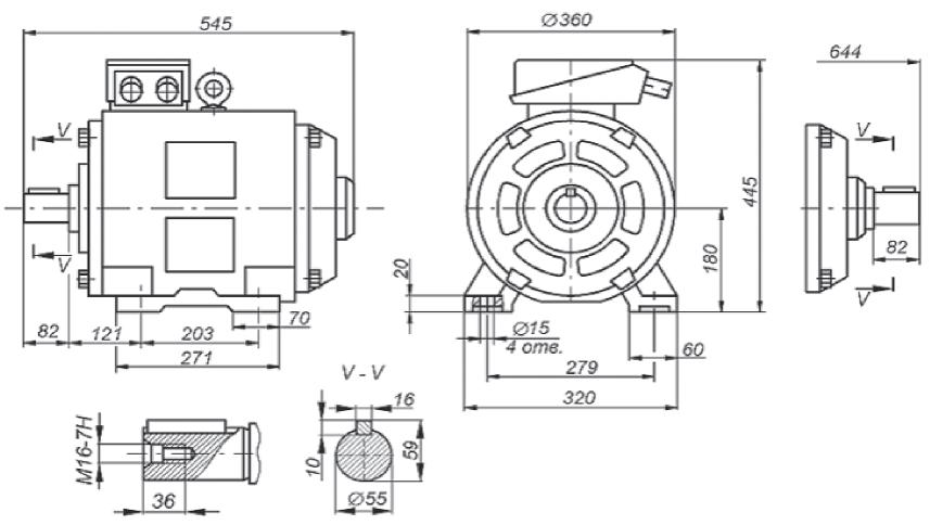 Габаритные, установочные и присоединительные размеры двигателя 5АН180S6/24НЛБ. Монтажное исполнение IM1001, IM1002 Рисунок 20.1