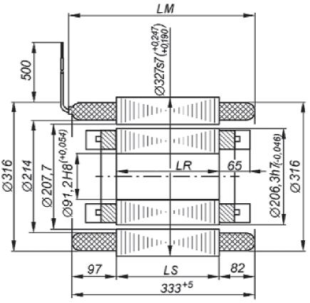 Габаритные, установочные и присоединительные размеры двигателя АИРРВВ200В4УХЛ2. Монтажное исполнение IM 5010 Рисунок 29