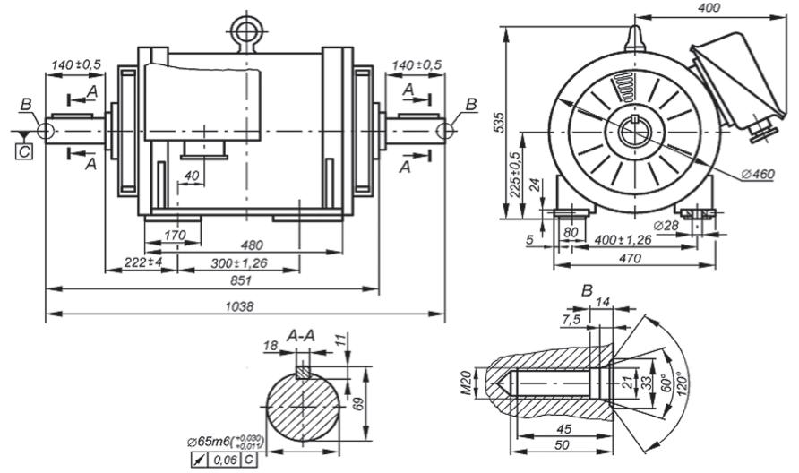 Габаритные, установочные и присоединительные размеры двигателя АНЭ225L4УХЛ2. Монтажное исполнение IM 1001, IM 1002. Рисунок 31
