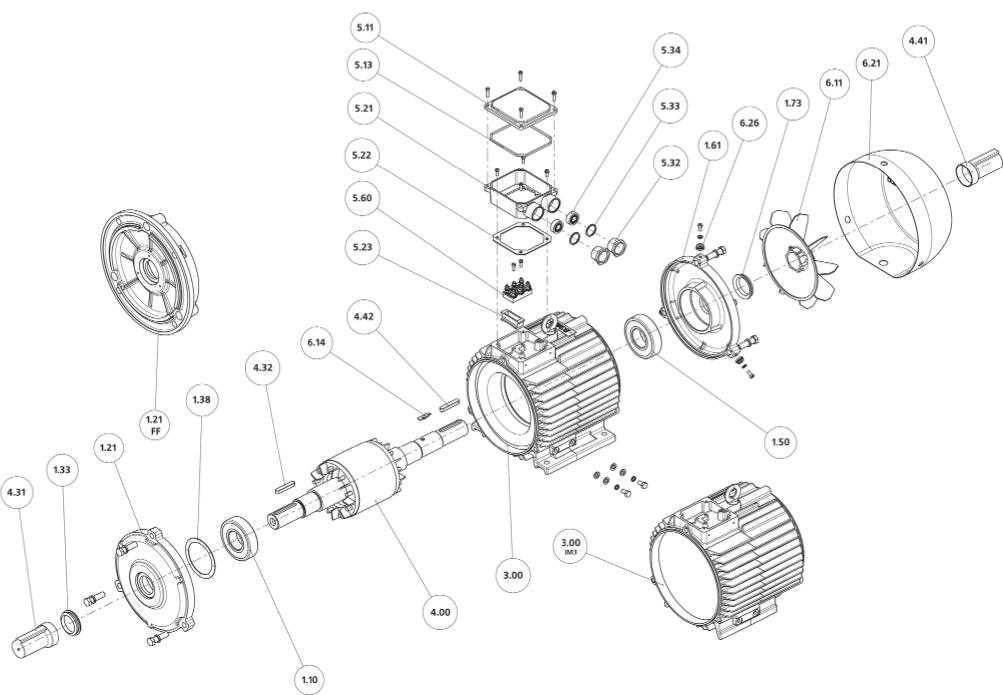 Конструкция, основные узлы и детали двигателей габаритов 80-132 мм и степенью защиты IP54, IP55.