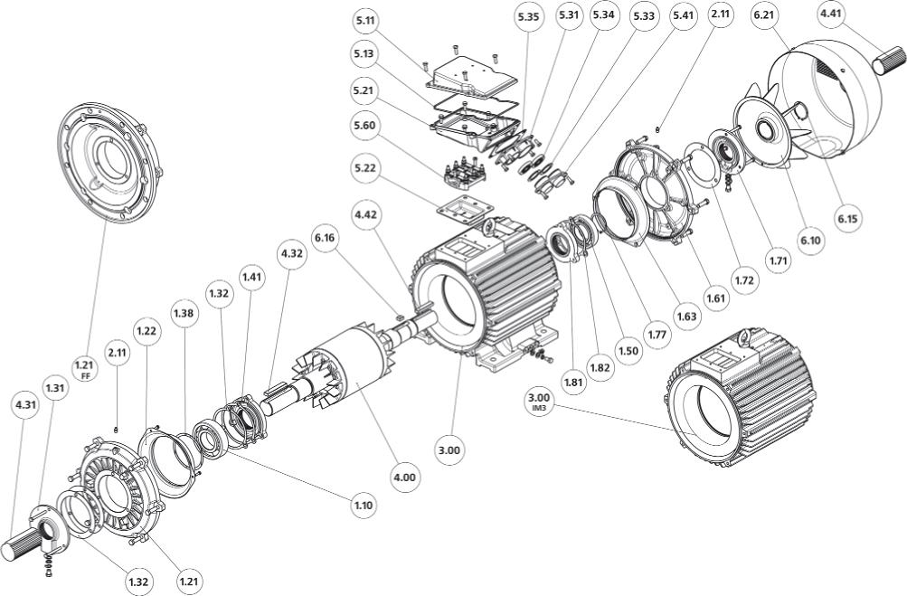Конструкция, основные узлы и детали двигателей габаритов 160-280 мм и степенью защиты IP54, IP55.