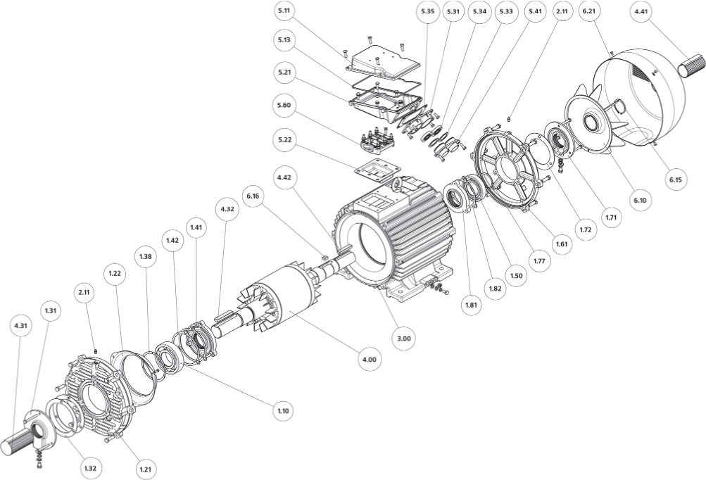 Конструкция, основные узлы и детали двигателей модульной конструкции со степенью защиты IP23.