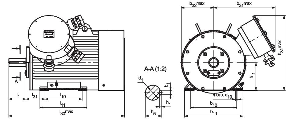 Рис. А2 Коробка выводов с двумя вводами (номинальный ток статора свыше 210 А)